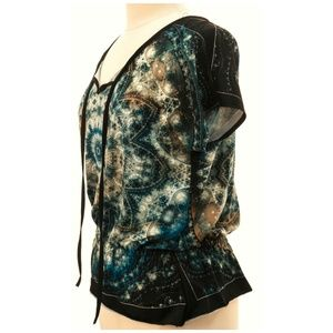 Claudia Richard Tops - *** 3/$20  Galaxy Print Short Sleeve Top